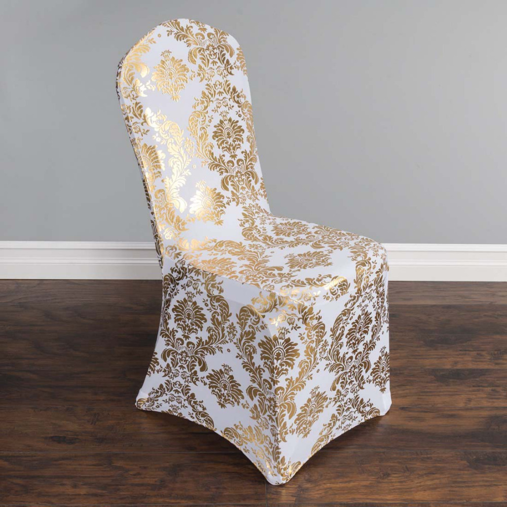 100pcs Lot Elastic Spandex Coverings Gold Silver Metallic Damask Stretch Banquet Chair Cover For Wedding Party Decor In From Home