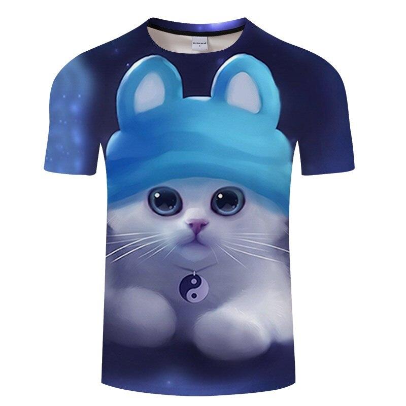 Черная футболка с 3D принтом кота для мужчин и женщин, летняя повседневная футболка с коротким рукавом и круглым вырезом, Топы И Футболки, Забавные футболки, Азиатские размеры S-6XL - Цвет: TXKH3149