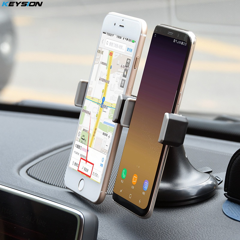 KEYSION Universal Car Mobile Phone Holder Stand Mount Sucker Windshield 360 degree rotation Double chuck Car Holder Bracket