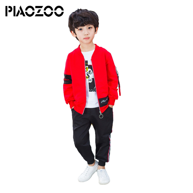 Trending products 2018  New coat Tshirt pant 3pcs/set spring autumn children's jacket print face outwear kids clothes 6-14 years