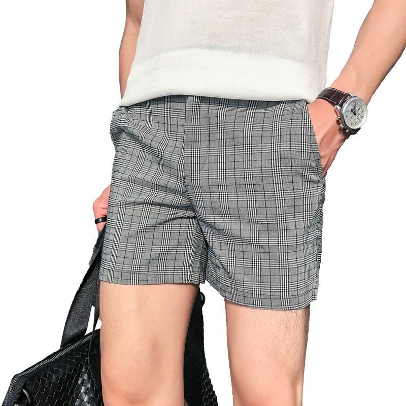 Summer Lattice Check Shorts 2018 Fashion Designer Slim Fit Men Shorts Bermudas Masculino Hot Sexy Beach Short Hombre Casual