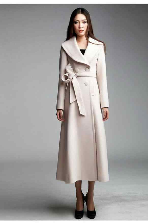 801765011c2 Winter Spring accept Custom High Quality Women White Cashmere Wool Warm  Trench Noble Sashes Slim Long