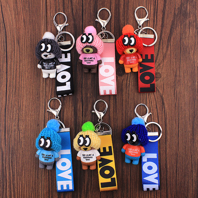 Vicney New Arrival Cute Teddy Bear Key Chain'THIS IS NOT A KOSCHINO TOY'Bear KeyChain Animal Pattern Key Holder For Girl Friend 1