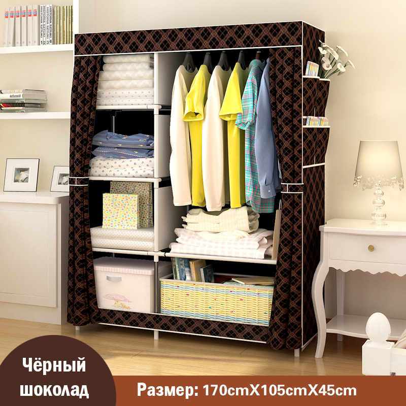 Simple modern large speace wardrobe Clothe storage cabinets Folding Non-woven closet Furniture wardrobe for Bedroom simple fashion moistureproof sealing thick oxford fabric cloth wardrobe rustproof steel pipe closet 133d