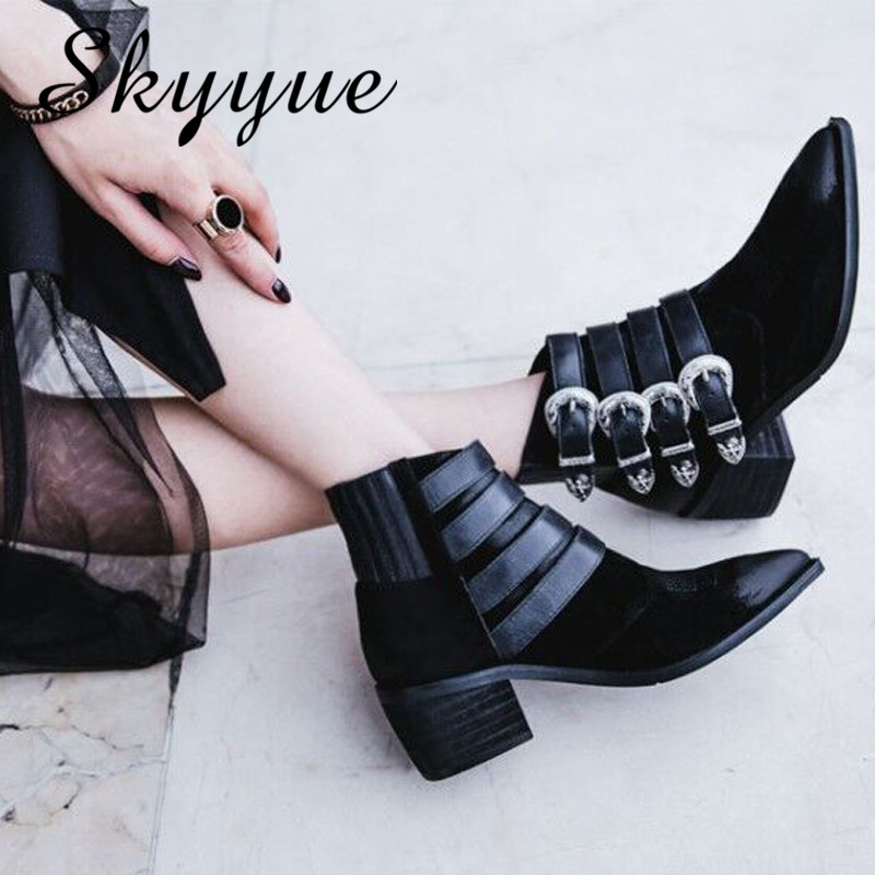 SKYYUE New Genuine Leather Vintage Gladiator Women Autumn Winter Boots Pointed Toe Khaki Thick Heel Boots Shoes Women