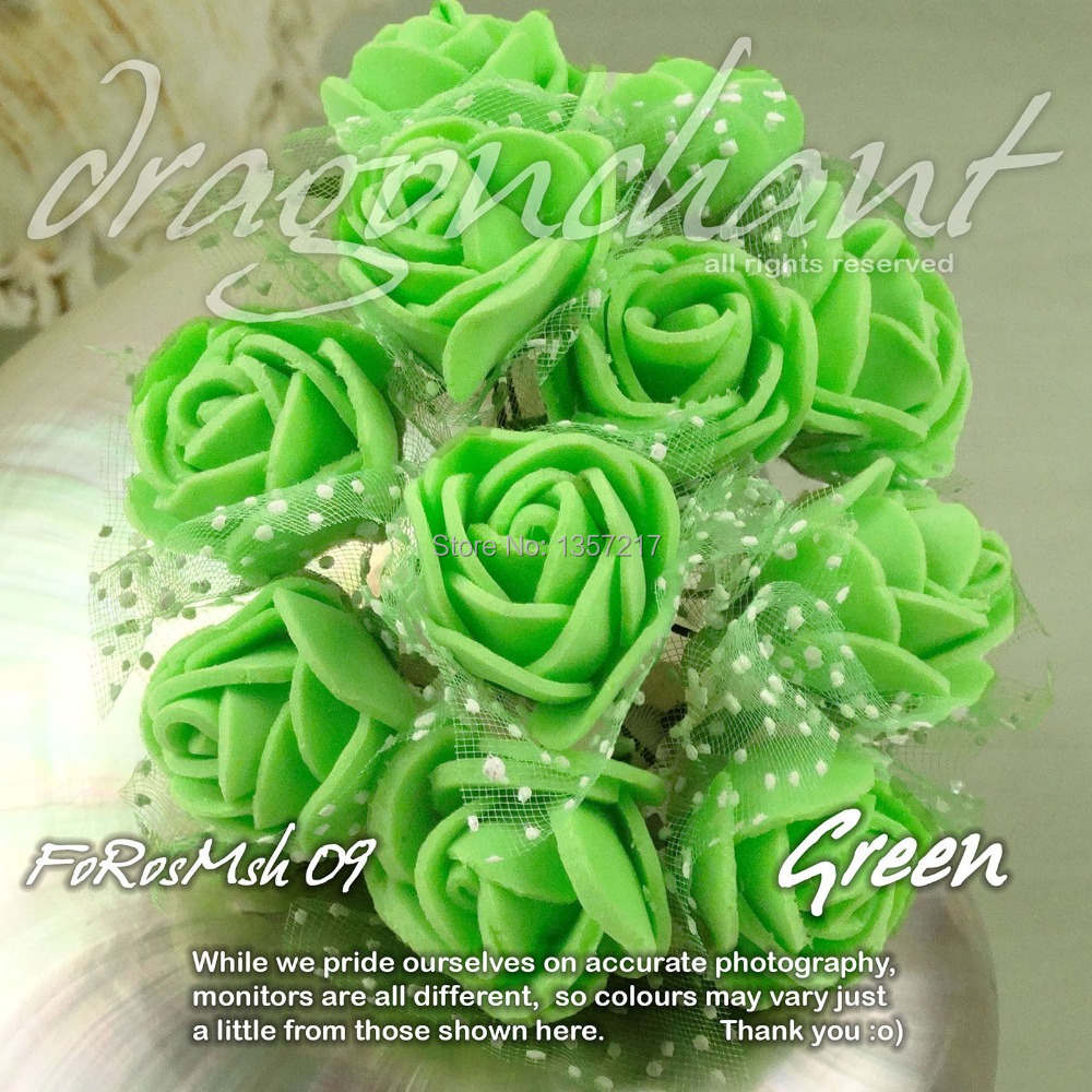 New Size 2 2.5cm Head Solid Green Color Artificial Rose Foam Flower ...