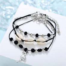 Boho Multilayer Flamingo Shell Crystal Beads Anklets For Women 3Pcs Vintage Beach Rope Ankle Bracelet on Leg Summer Foot Jewelry