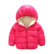 Baby Coats 9-24M Girls Boys Jacket With Faux Fur Liner Hooded Cotton Parka Warm Outerwear Pink Kids Snow Wear Winter Clothing