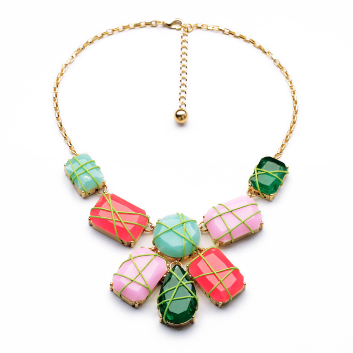 N00964 Unique Fashion Costume Jewelry From Factory Supplier Gold Color Resin Statement Rainbow Stones Pendants Necklace