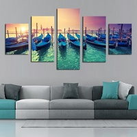 Unframed 5 Panel Modern Boat Painting Yacht Harbor Port Canvas Art Oil Painting Sunset Cuadros Picture