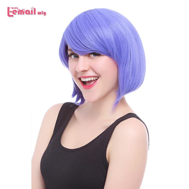 L-email wig 12inch 30cm Short Bobo Cosplay Parykar 6 Färger Rak Rosa Grön Röd Syntetisk Hår Perucas Cosplay Paryk