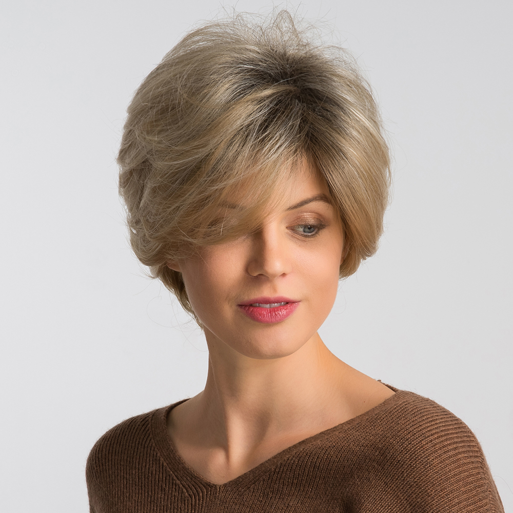 Blonde Unicorn 8 Inch Synthetic Pixie Cut Women Wigs With Natural Bang Fluffy Straight 50% Human Hair Light Brown Short Hair Wig