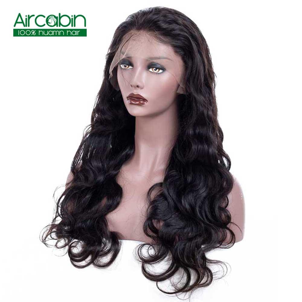Brasileño pelucas llenas del cabello humano del cordón de la onda del cuerpo de la Pre-arrancado AirCabin pelucas de pelo Remy con el pelo del bebé 130 de densidad peluca de encaje completo