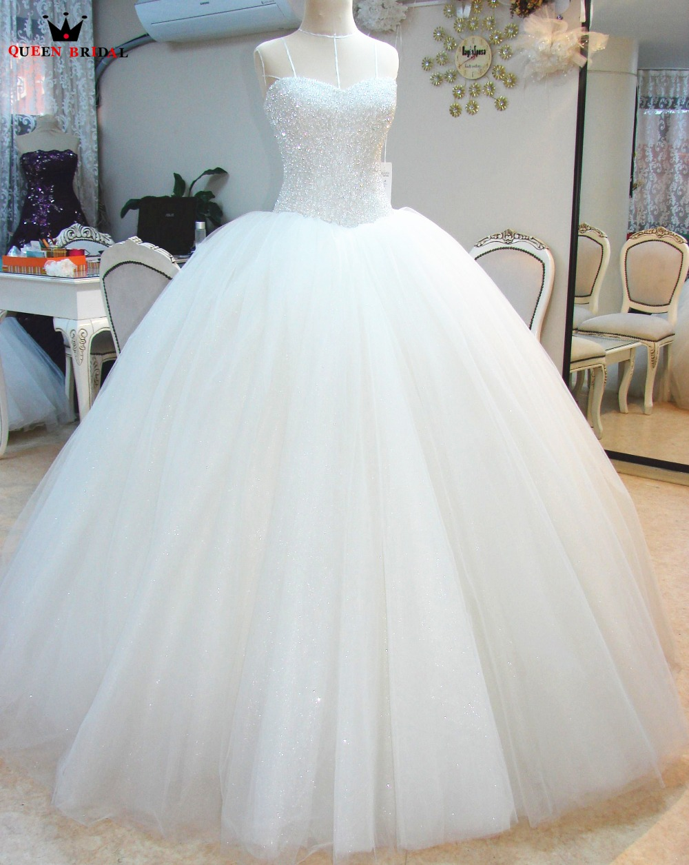 Custom Made QUEEN BRIDAL 2020 Ball Gown Puffy Wedding Dress Vestidos De Novias Floor Length Wedding Gown Robe De MarieeHC88M