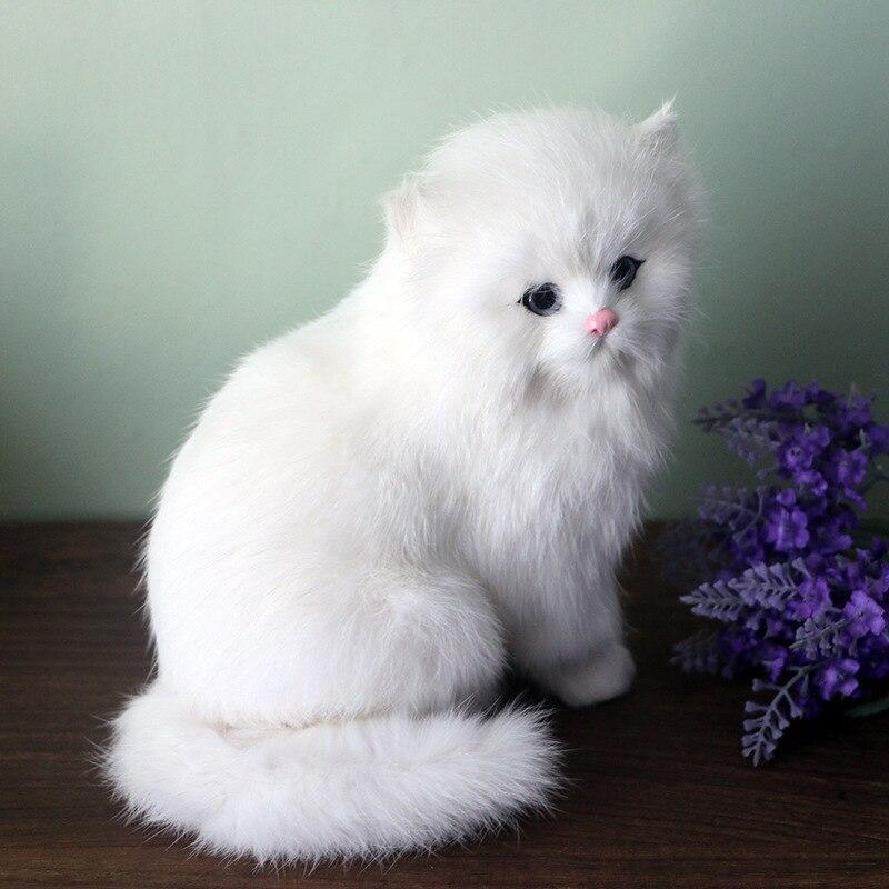 White Plush Cats Lifelike Crouching Animals Models