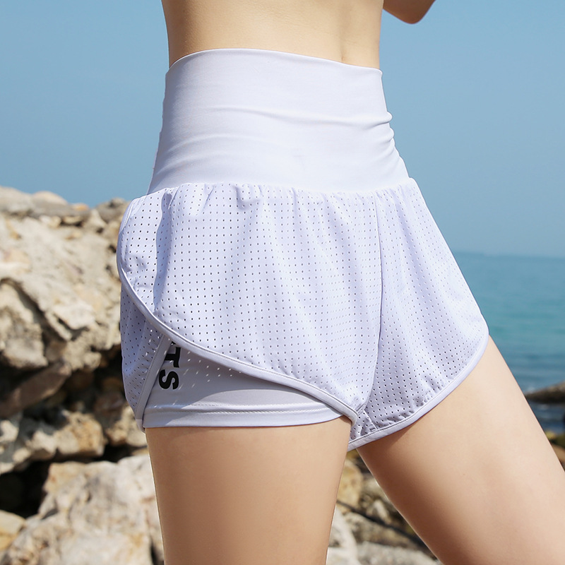 High Waist Women 39 s Sports Shorts Yoga Fitness Fake Two Pieces Solid Sport Workout Quick Dry Gym Sport Running 2019 Summer New in Yoga Shorts from Sports amp Entertainment