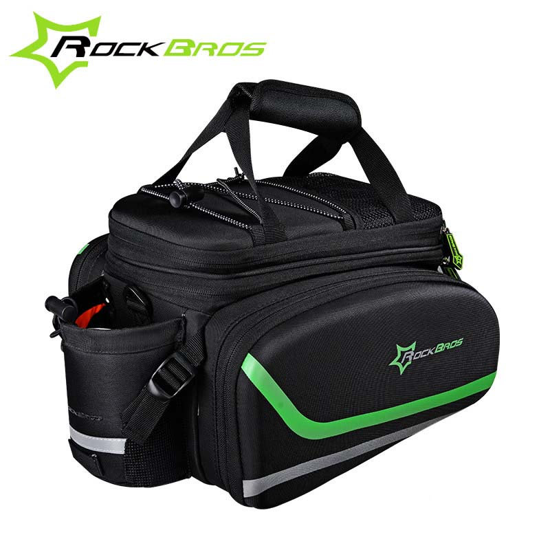 Rockbros Bicycle Bag Rear Seat Bag Large Capacity +Rain Cover MTB Mountain Bike Bag Cycling Saddle Bag Bicycle Trunk Accessories roswheel mtb bike bag 10l full waterproof bicycle saddle bag mountain bike rear seat bag cycling tail bag bicycle accessories