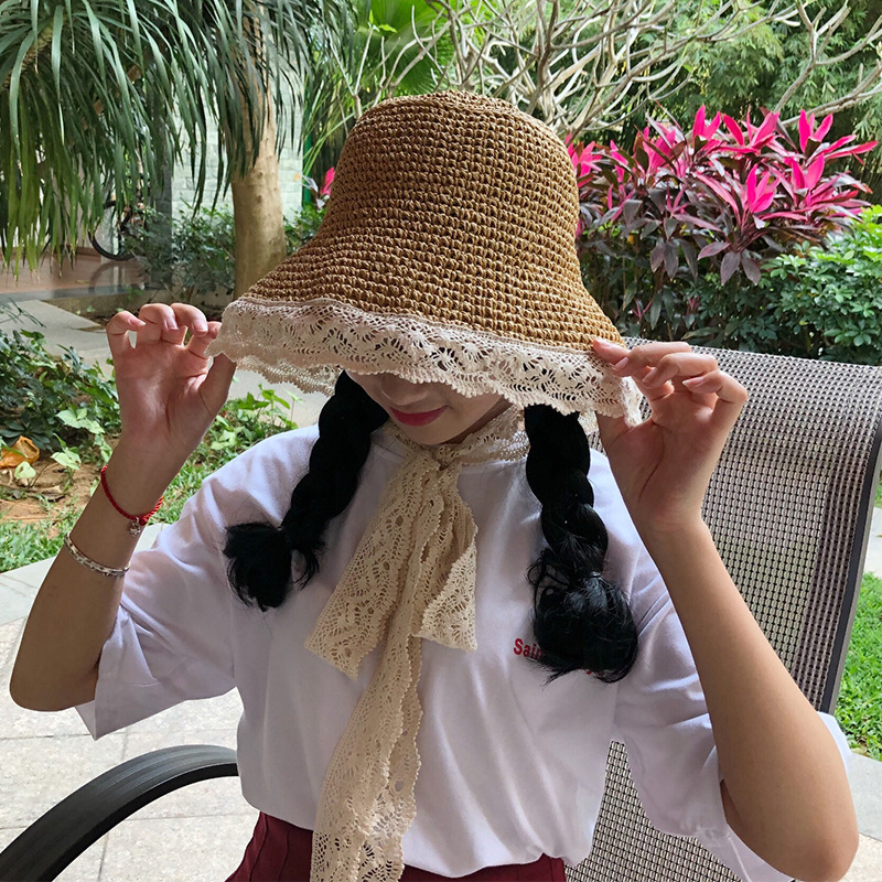 d3cc9210684 HT1595 Korea Style Raffia Straw Hats High Quality Lace Trim Floppy Panama  Bucket Hats Packable Round Top Wide Brim Beach Sun Hat-in Sun Hats from  Apparel ...