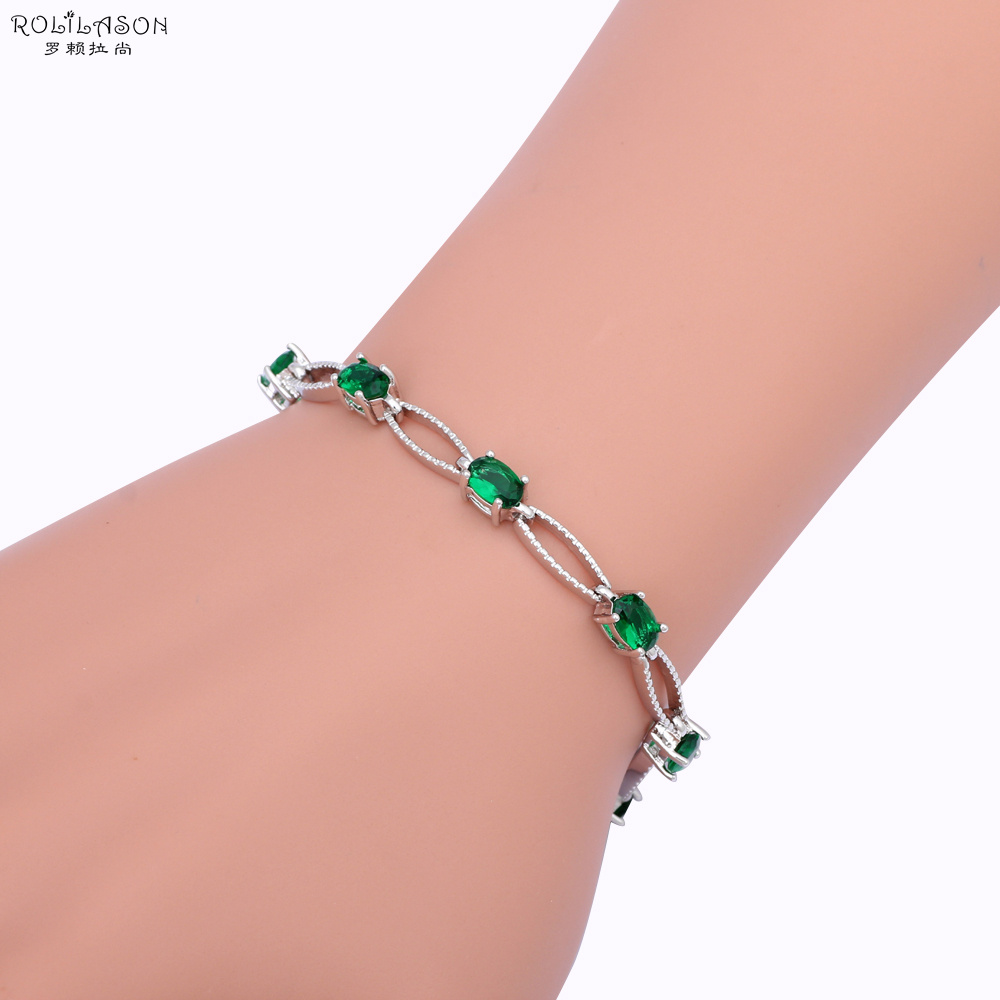 New Brand Design Peridot AAA Zirconia Silver Charm Bracelets Deep Green Crystal Fashion jewelry TBS959