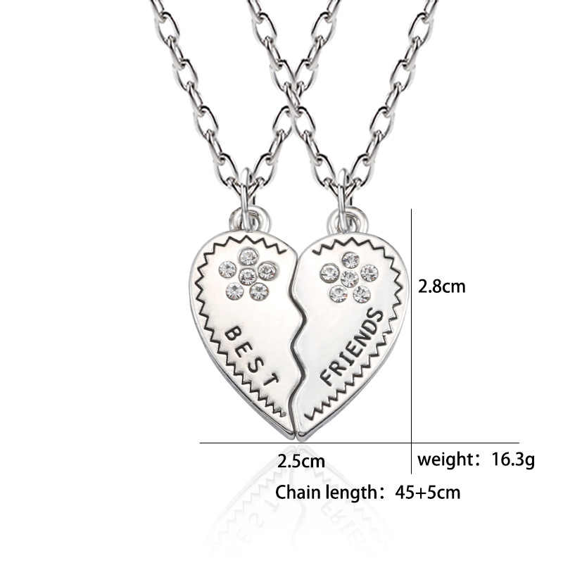 VAMOOSY 2 PCS Beste Freunde 925 kristall Halskette Schmuck Anhänger Paare Gepaart Halsketten & Anhänger Unisex Liebhaber valentinstag Geschenk