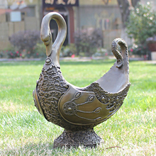flower like copper bronze sculpture crafts ornaments practical art RETRO decorative gift Home Furnishing Swan compote