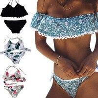 2017 Women Sexy Bandeau Bikinis Swimsuit Brazilian Off Shoulder Beach Summer Swimwear Suit Push Up Bikini