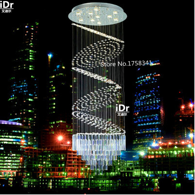 Modern LED chandelier penthouse stair staircase hall light long crystal lamp hanging wire lights villas Upscale atmosphere