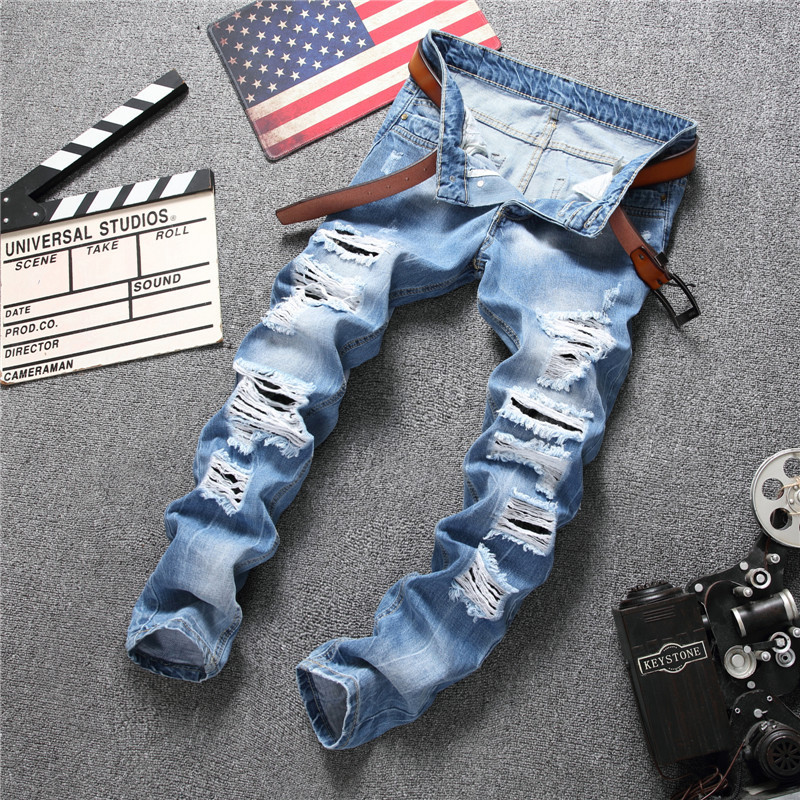 2017 New Brand Designed Men Hole Casual Ripped Jeans Men's Fashion Skinny Denim Pants Slim Fit Cotton Male Denim Trousers new brand 2017 mens skinny jeans mid waist male trousers patchwork cotton men s denim slim pants fashion ripped jeans for men