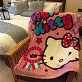 Hello Kitty Mono Oso de Dibujos Animados Para Niños Kids Bebé Doble Cubierta Hoja de Cama Manta de Franela Manta Envolver Bebé Stoller