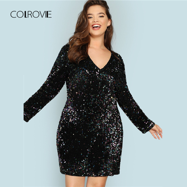 COLROVIE Plus Size Black V Neck Sequin Girls Sexy Dress Women 2018 Autumn Long Sleeve Party Dress Elegant Evening Mini Dresses