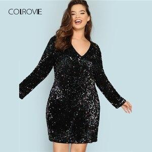 Image 1 - COLROVIE Artı Boyutu Siyah V Boyun Pullu Kızlar Seksi Elbise Kadınlar 2018 Sonbahar uzun kollu parti elbisesi Zarif Akşam Mini Elbiseler
