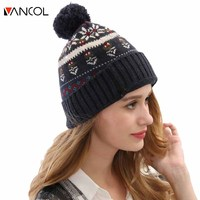 2015 Winter Custom Knitted Women Ball Top Thick Casual Chapeu Blue Bonnet Men Snowflake Wool Knitted