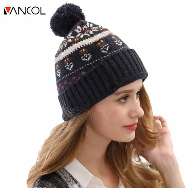2015 Winter Custom Knitted Women Ball Top Thick Casual Chapeu Blue Bonnet Men Snowflake Wool Knitted Pom Pom Beanie Hat