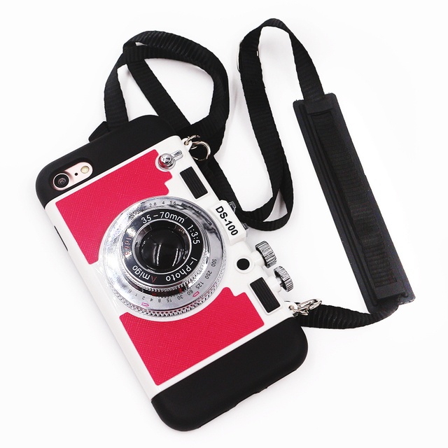 Korean Style Fashion Cute Camera Designer Phone Case For Iphone 6 Case Lanyard Back Cover For Huawei P9 For OPPP R9 For Vivo X7