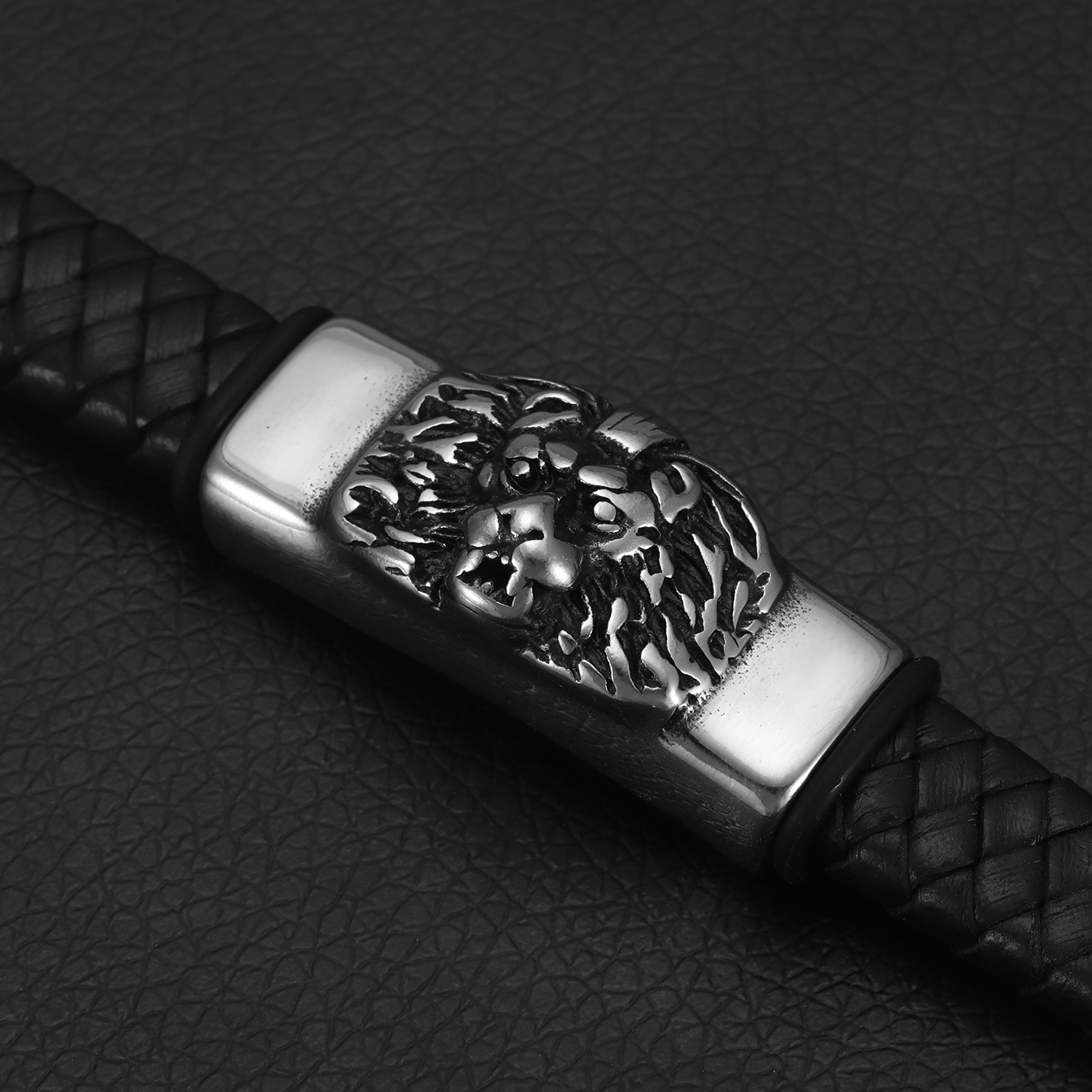 Stainless Steel Punk Male Lion Slider Beads 12 6mm Hole Slide Charms for Men Leather Bracelet Jewelry Making DIY Accessories in Beads from Jewelry Accessories