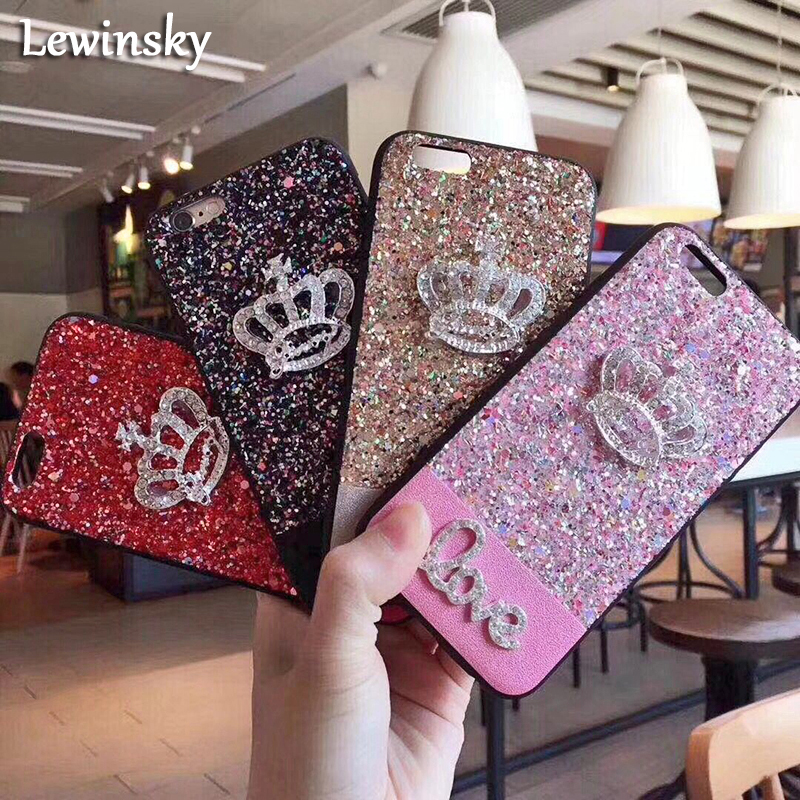Luxury Bling Glitter Crown Case For Apple iPhone 6 Case 6s 7 Plus TPU Funda For iphone 7 Cases X 8 plus leather TPU Back Cover
