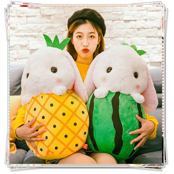 Stuffed vegetables fluffy bunny toys for children cupcake doll watermelon pillow strawberry plush fruit plush banana knitting