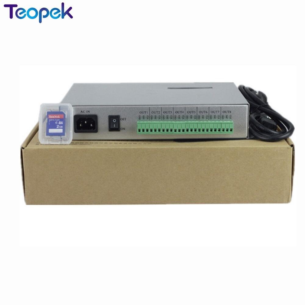 T-300K T300K carte SD en ligne VIA PC contrôleur de module de pixels led couleur rvb 8 ports 8192 pixels ws2811 ws2801 WS2812 6803 - 4