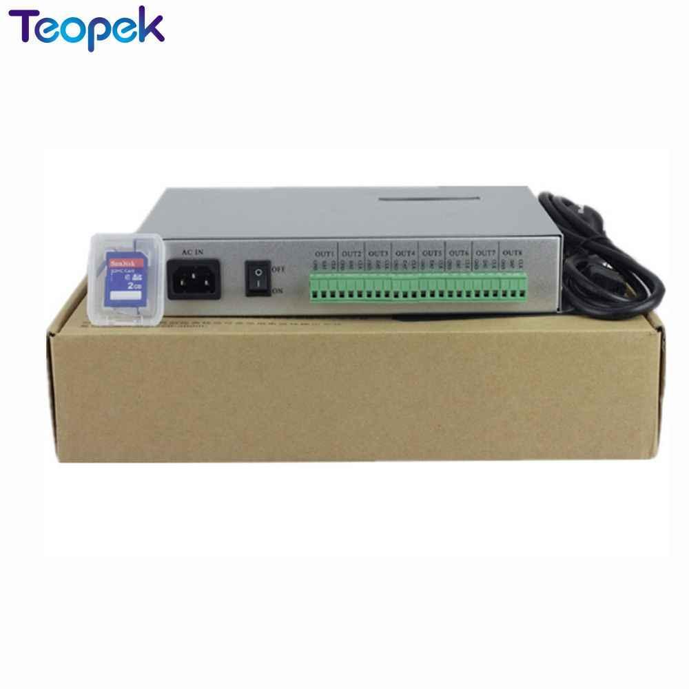 T-300K T300K tarjeta SD en línea vía PC RGB controlador de módulo de píxeles led a todo color 8 puertos 8192 píxeles ws2811 ws2801 WS2812 6803