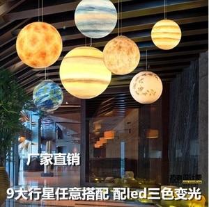 Image 2 - Nordic Criativo Universo Planeta Acrílico Luz Pingente Lua Sol Terra Marte Urano quarto de crianças quarto hunging lâmpada de Mercúrio