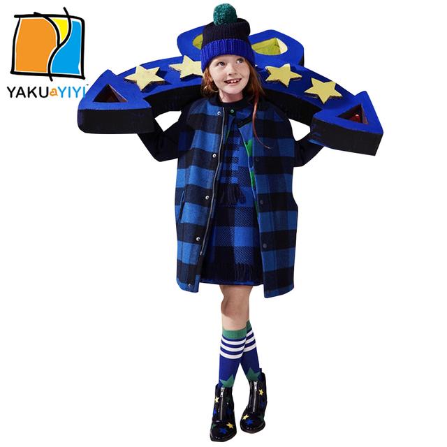 Ykyy yakuyiyi niñas outwear negro y azul de la raya de los bebés outwear caliente suave de manga larga niños outwear girls clothing