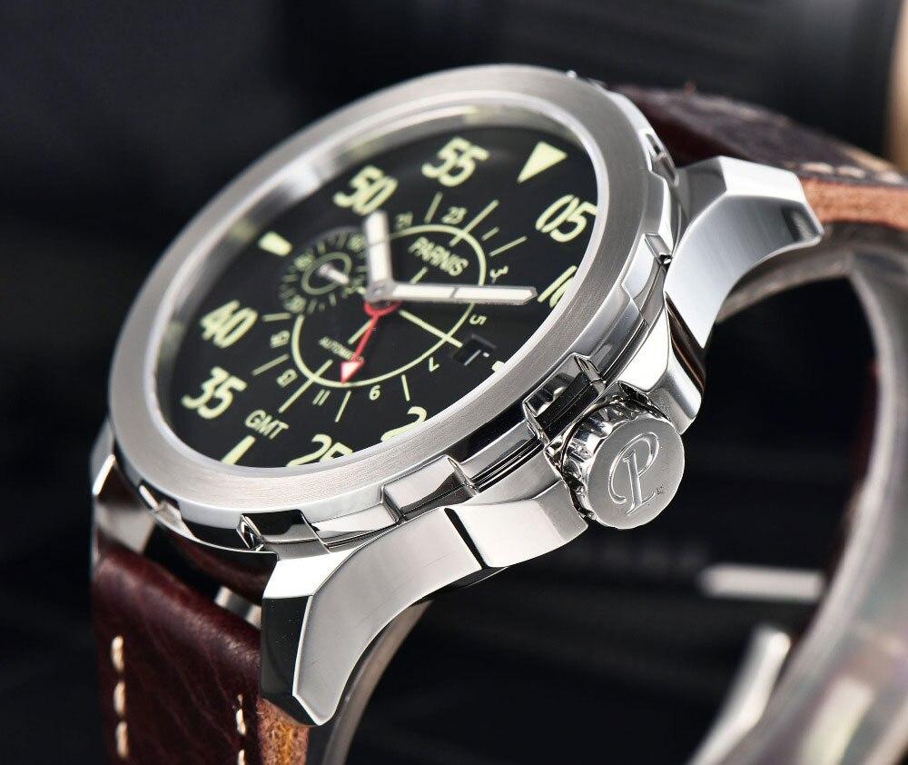 Parins 44 millimetri quadrante nero luminoso mani GMT movimento degli uomini di automatic Casual orologio-in Orologi meccanici da Orologi da polso su  Gruppo 2