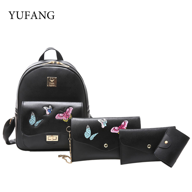 YUFANG 4Pcs Set Butterfly Embroidery Women Backpacks Female Schoolbag For Girls PU Leather Purse Casual Daypack