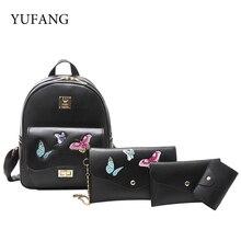 Yufang 4 шт./компл. с вышитыми бабочками женские рюкзаки женские школьный для девочек PU кожаный кошелек Повседневный Рюкзак Опрятный Mochila