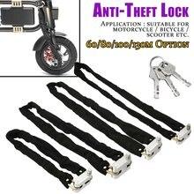 60/80/100/130cm bloqueio de bicicleta anti-roubo ao ar livre bloqueio de corrente de bicicleta segurança reforçada metal pesado moto motocicleta fechaduras de corrente