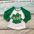 Новорожденных девочек одежда реглан топы Святого Патрика реглан девочек регланы Осень топ девушки shamrock регланы дети обледенения регланы футболка