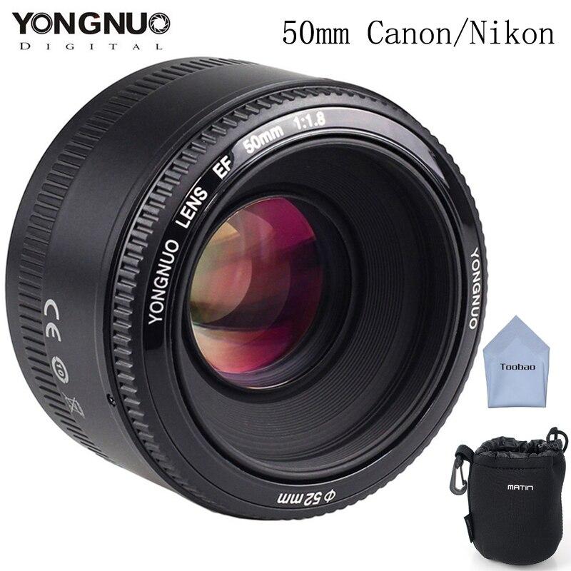 Prix pour YONGNUO 50mm YN50mm Objectif f/1.8 AF/MF Grande Ouverture Auto Focus pour Canon Nikon DSLR Camera