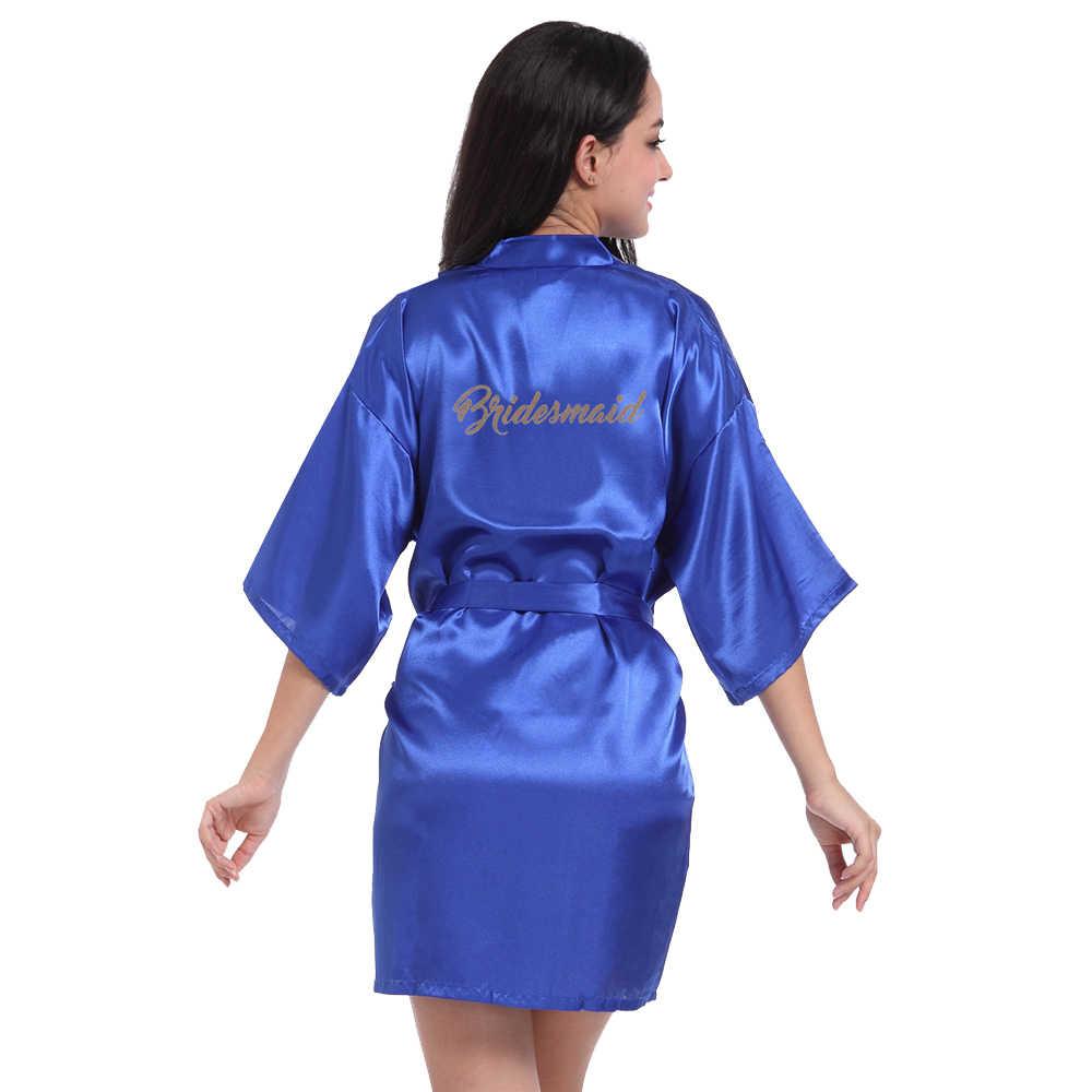 RB71 FASHIO Pesta Pengantin Jubah Huruf Pengantin Gamis Kembali Wanita Pendek Satin Pernikahan Kimono Baju Tidur Spa Jubah untuk wanita