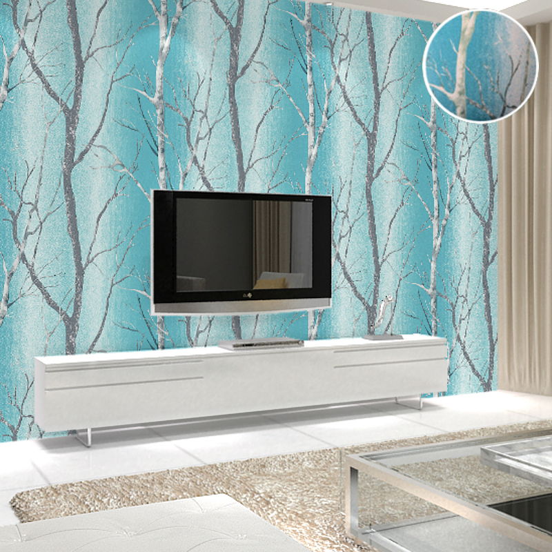 Thick Birch Tree Forest White Woods Wallpaper Modern DesignWall Paper For Living  Room Bedroom Tv Background Teal Blue In Wallpapers From Home Improvement On  ... Part 18