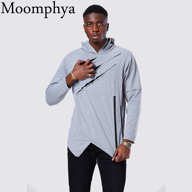 Moomphya 2017 Hoodies Men Hip Hop Streetwear Irregular Zip Mens Hoodie Ripped Curve Hem Pullovers Sweatshirt